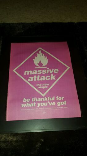 Massive Attack Be Thankful For What You've Got Rare Radio Promo Poster Ad Framed