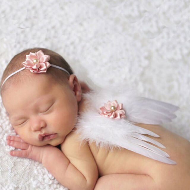 Newborn baby white angel wings headband costume photo photography props outfits