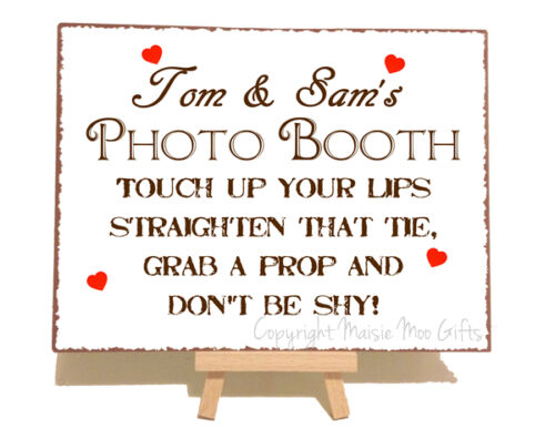Personalised Photo Booth Wedding Metal Vintage Shabby Chic Style Plaque Sign