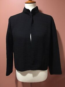 Eileen-Fisher-Black-Jacket-Magnet-Closure-Rayon-Silk-Size-PP