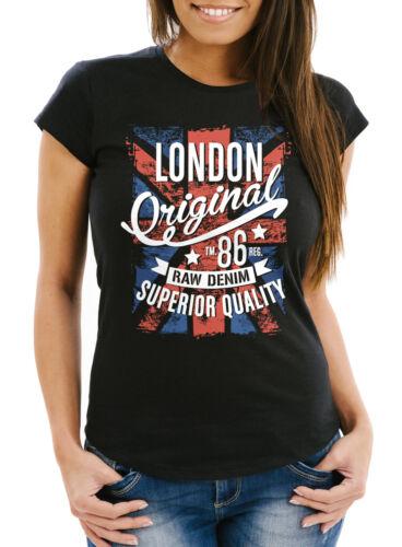 Señora T-Shirt londres vintage Inglaterra gran bretaña UK bandera slim fit