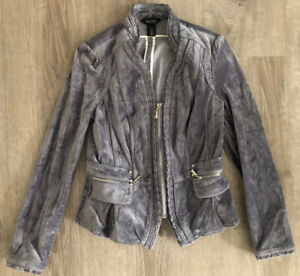 White-House-Black-Market-Grey-Velour-Structured-Suit-Blazer-Jacket-Womens-Size-4