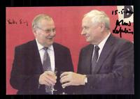 Lothar Birks und Oskar Lafontaine Autogrammkarte Original Signiert  ## BC 72396
