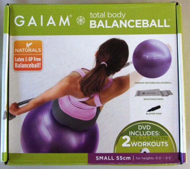 "GAIAM Total Body Workout Stability Balance Ball /w DVD - Tone Upper Body Abs 22"""