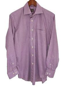 Peter-Millar-Mens-Medium-M-Long-Sleeve-Button-Front-Purple-Plaid-Dress-Shirt
