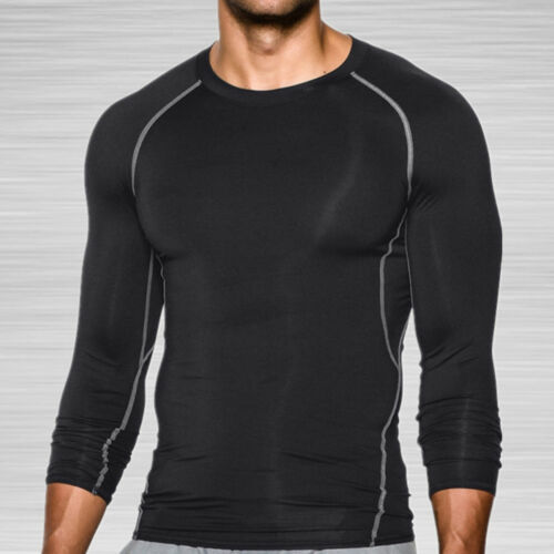 Mens Compression Tops Sports T-Shirts Under Shirt Base Layer Athletic Gym Wear G
