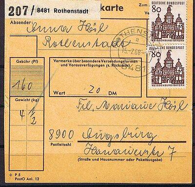 Bundesrepublik Deutschland Bund Minr 461 Als Mef Auf Paketkartenabschnitt Rothenstadt Nach Augsburg Online Rabatt