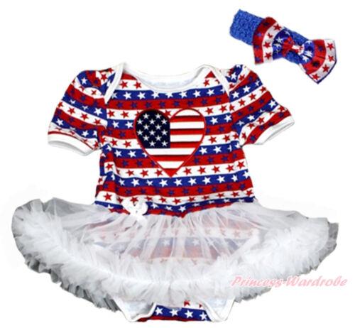 4TH July Toddler USA Flag Jumpsuit America Flag Heart White Baby Dress NB-12M