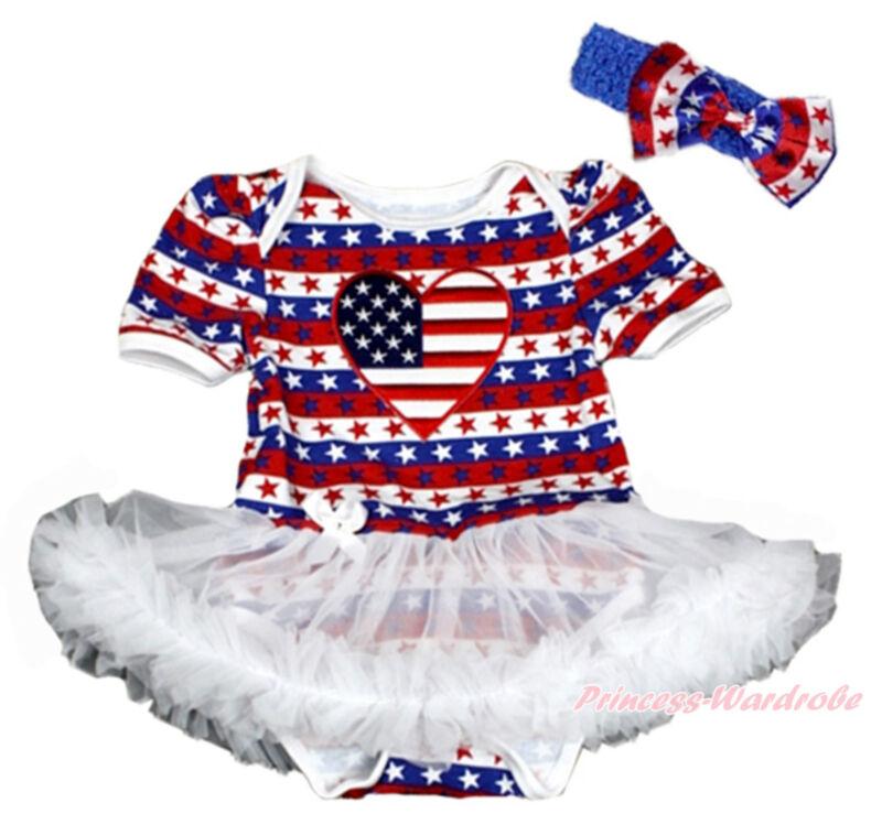 4th July Rhinestone AUSTRALIA Flag Heart White Halter Bodysuit Star Skirt NB-2Y