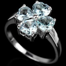 Sterling Silver 925 Genuine Sky Blue Topaz Heart Faceted Ring Size S (US 9.25)