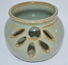 Pottery Votive Candle Tea Light Holder Pot With Cut-Outs Green Brown
