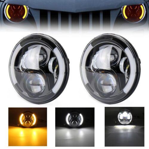 "Pair 7/"" Inch LED Front Headlight Angel Eye Halo DRL for Jeep Wrangler JK  07-17"