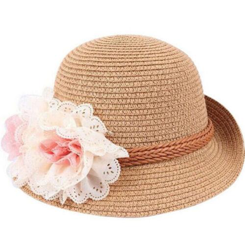 2-7Y Fashion Sun Filles Bébé Paille Summer Cap sunhat Large Bord Chapeau Plage