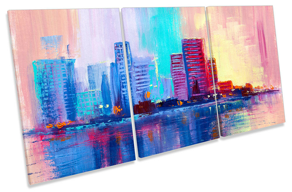 City Skyline Buildings Repro CANVAS WALL ARTWORK TREBLE Print Art