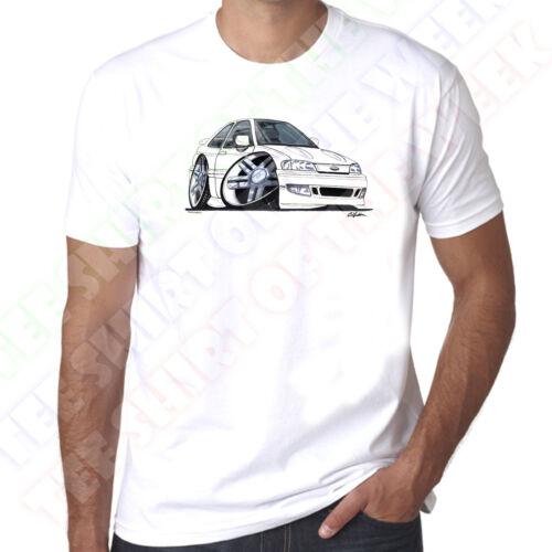 Wickedartz Cartoon Voiture Blanc Ford Escort MK5 RS2000 T-Shirt Blanc coton pour homme