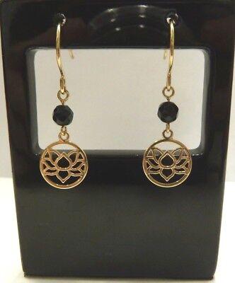 9ct Gold Lotus Flower Onyx Drop Earrings Ebay