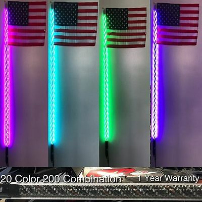 Pair 4ft 200 Combination Deluxe LED Whips w// NEW BLUETOOTH Sync Module UTV RZR