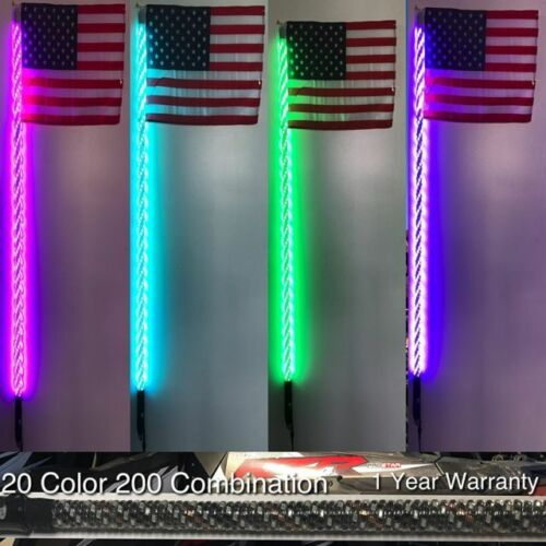 4ft 200 Color Combination Deluxe Spiral LED Lighted Whip-UTV-RZR-Remote Control