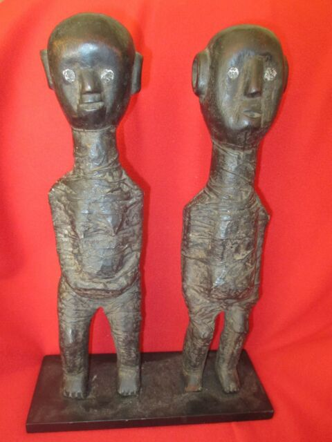 Zigua Tribe Rare Protective Double Mummy Carved & Awakened Power Figures