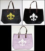 Large Trendy Fleur De Lis Tote Bag- Choose Color