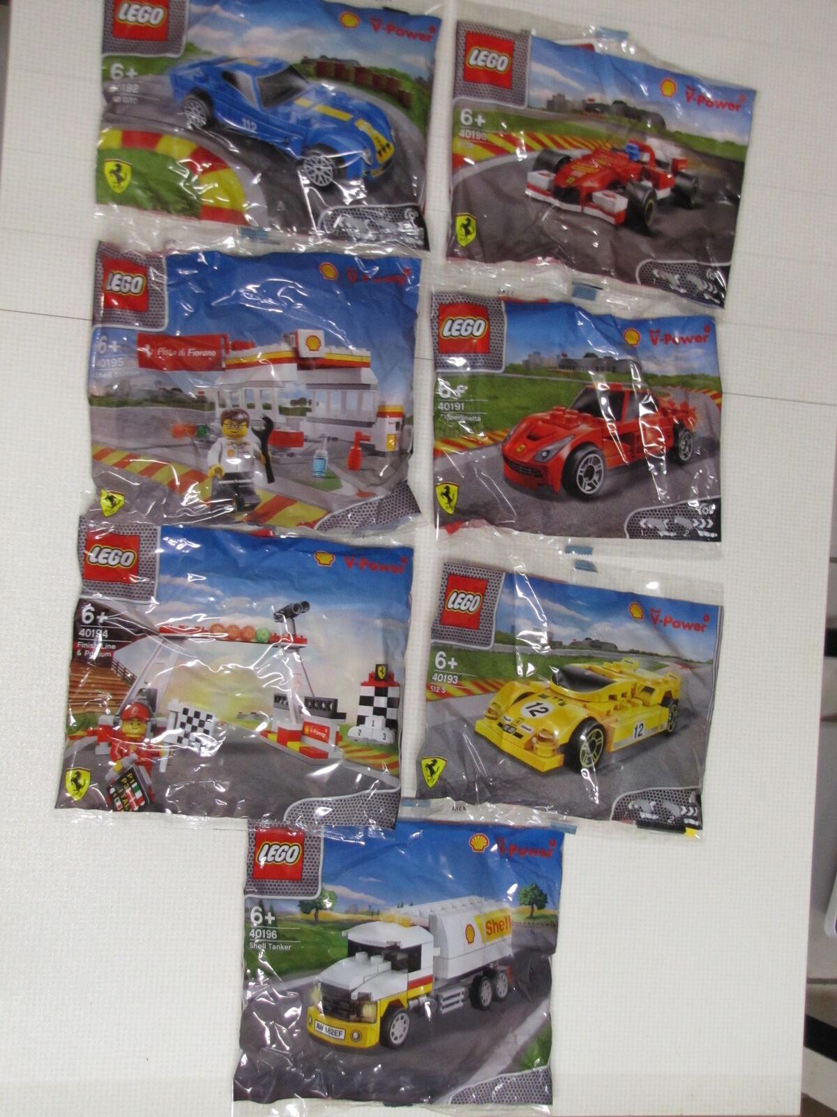 Lego Ferrari Shell Komplettset 40190 40191 40192 40193 40194 40195 40196 POLYBAG