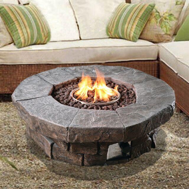 Peaktop Outdoor Garden Patio Heater Gas Fire Pit Firepit Lava Rocks Hf11802aa Uk