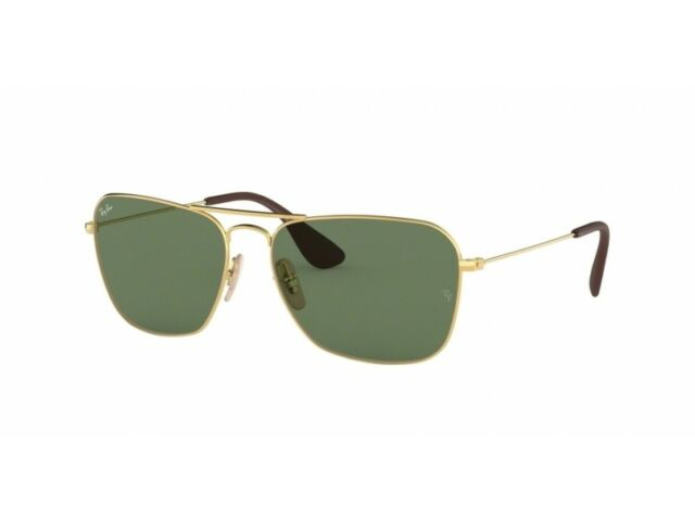 f38ed20de2 Ray-Ban Sunglasses RB 3610 001 71 Gold Rectangular Green Lens Authentic 58