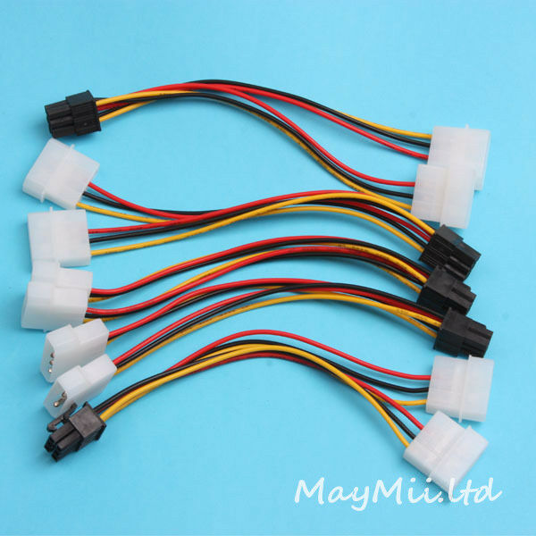 Brandnew 5X PCI-E 6 Pin to Dual 4 Pin Video Card Power Adapter Converter Cable G