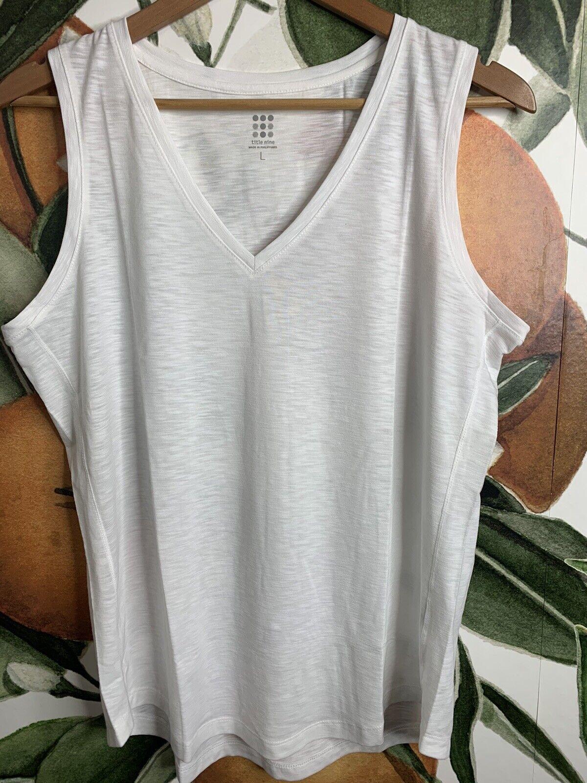 Title Nine L Large Matahari V Neck Shirt Tank Top White New w/o Tags RT