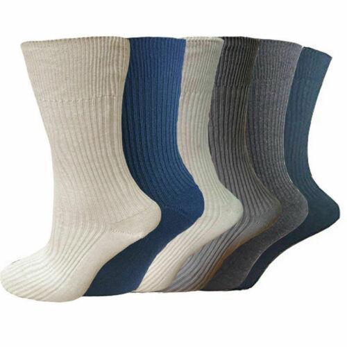 12 Pairs 100/% pure cotton Mens socks Gentle Soft Grip Non Elastic Diabetic Socks