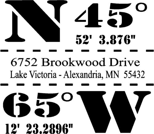 Customized Coordinates Wall Sticker Wall Art Decor  Vinyl Decal Lettering 20x16