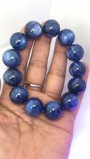 Natural Blue Kyanite Crystal Cat Eye Beads Stretch Bracelet 18mm AAA