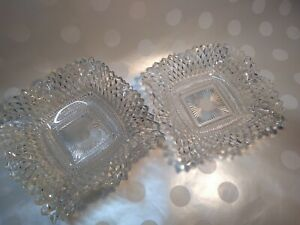 Vintage-Cut-Glass-Candy-Dish-Bowl-ashtray-set-of-4-about-7-034-x7-034-depression-glass