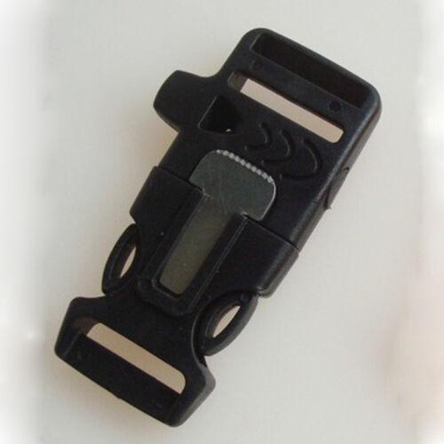 Side Release Whistle Buckle Flint Fire Starter Escaper For Bracelet  Bag Cloth c