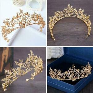 Bridal-Princess-Rhinestone-Pearl-Crystal-Hair-Tiara-Veil-Wedding-Crown-Head-D1P0