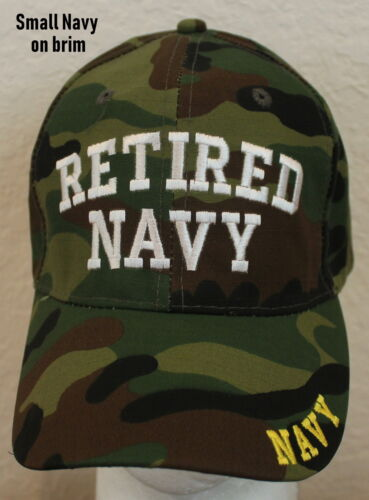 Embroidered Retired Navy Hat Camo Adjustable Mens Cap Ballcap Great Gift