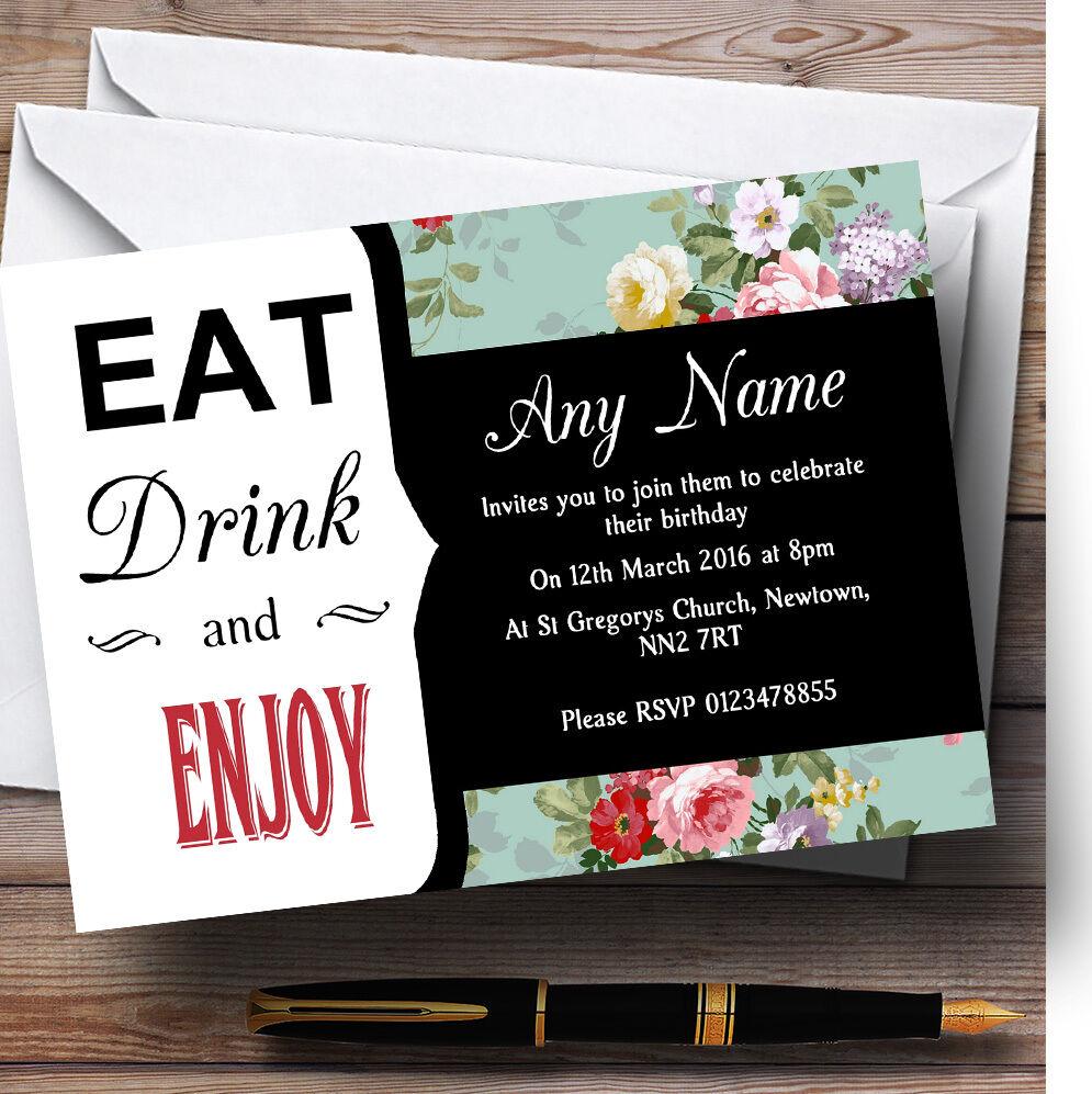 Vintage Chic Shabby Chic Vintage Floral Eat drink Personnalisé Fête D'Anniversaire invitations bf03dd