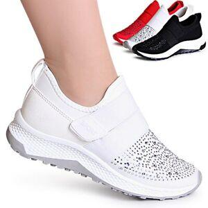 Sneaker-Donna-Zeppa-Glitter-velluto-PLATEAU-Scarpe-Da-Ginnastica-Scarpe-Basse-Derby