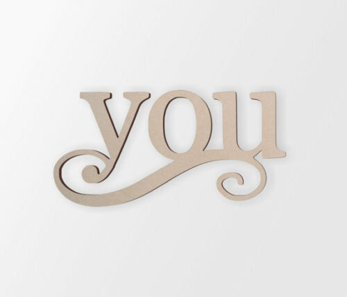 """Wall Art Word Cutout /""""You/"""" Unfinished and Available Cutout Home Decor"""