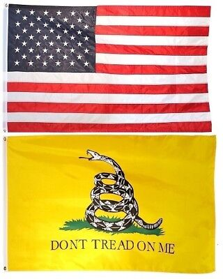 3x5 USA American Flag /& Gadsden Dont Tread On Me EMBROIDERED 210D Premium Set