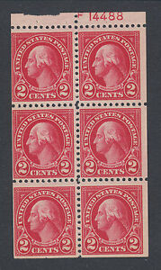 US-Sc-554c-MNH-1923-2c-Washington-Booklet-Pane-with-99-Plate-No-14488-chip