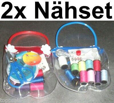 2x Set de Costura Hilos Aguja Tijeras Coser Caja Costurero Botones Imperdibles