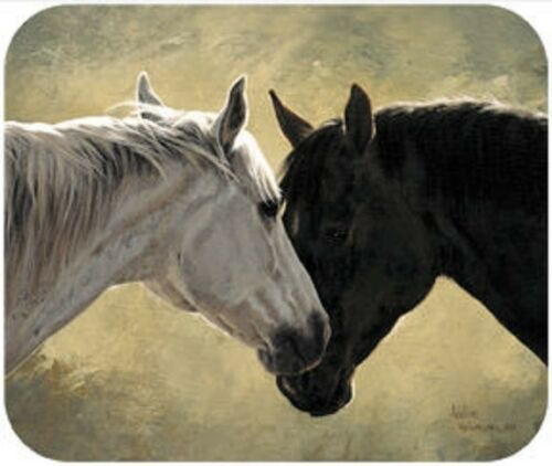 MOUSE PAD--Hearts Desire-TWO HORSES--Printed in the U.S.A.--Polyester//Neoprene