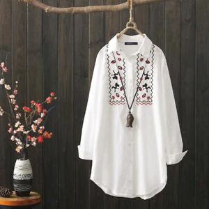 Mode-Femme-Chemise-a-imprime-floral-100-coton-Manche-Longue-Loose-Shirt-Plus