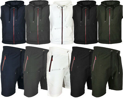 Men's Camouflage Gilet Shorts Set Sleeveless Sports Jogging Hoodie GYM Tracksuit