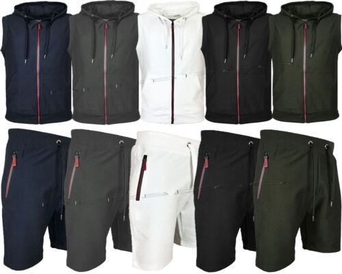 Mens Sleeveless Tracksuit Set Hoodie Top & Shorts Jogging Bottom Summer Casual