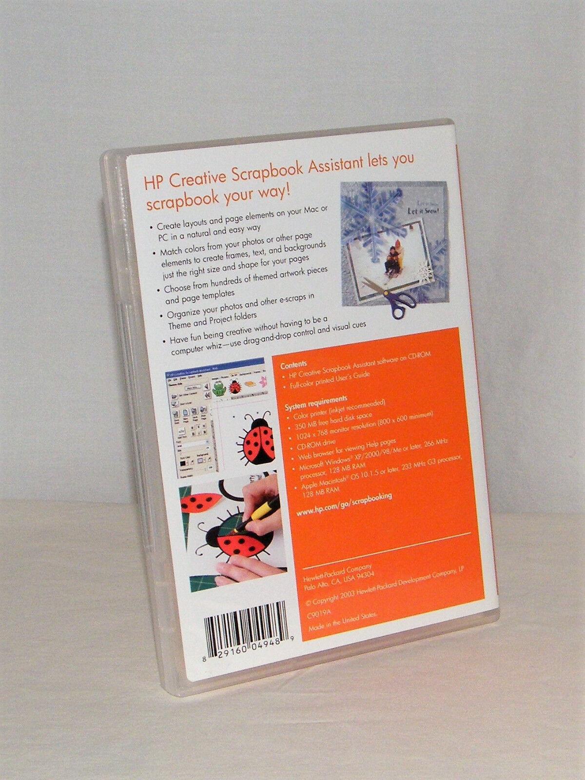 HP Creative Scrapbook Assistant Digital Software CD-ROM & Full Color User  Guide