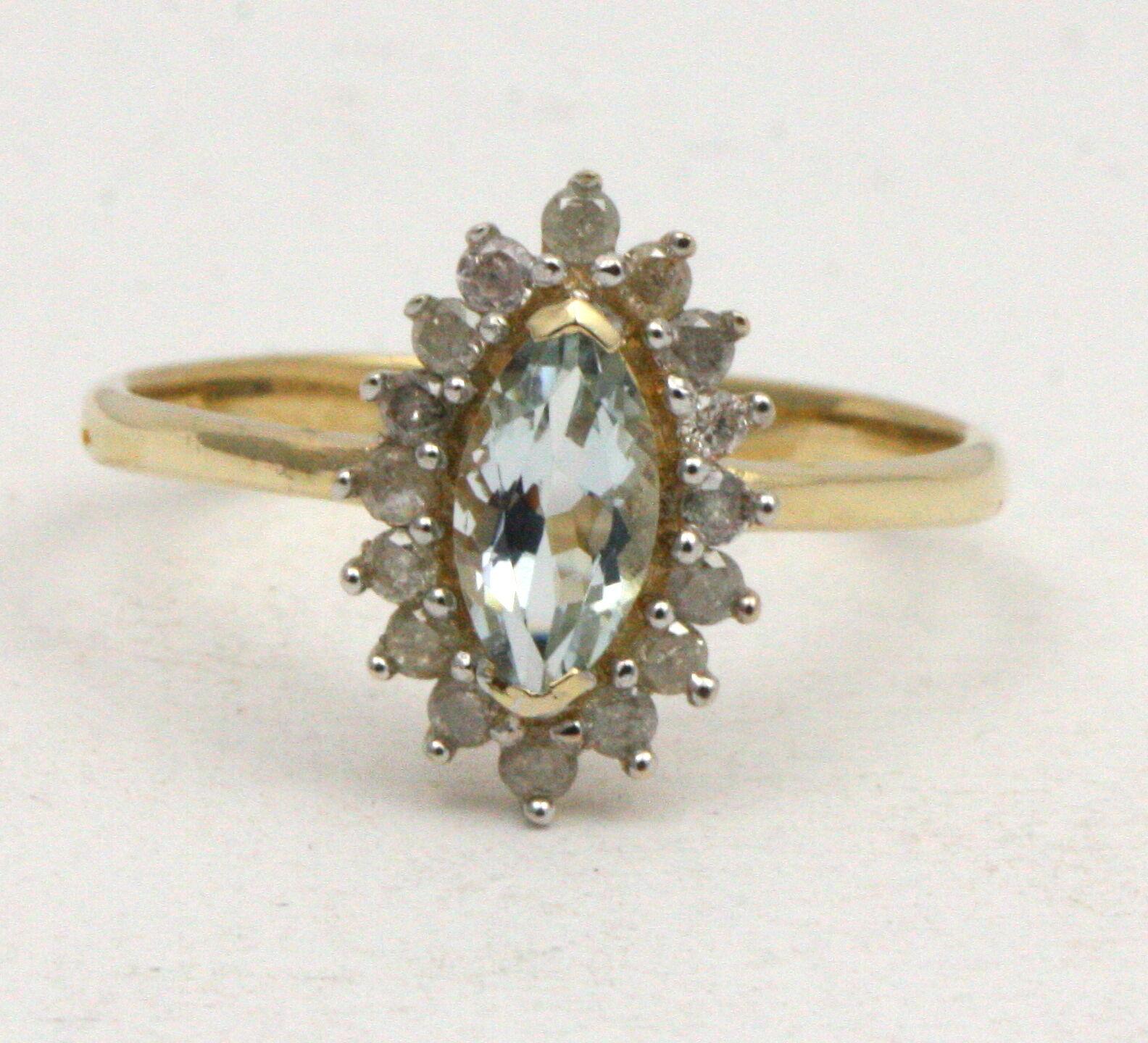 Bjc 9Ct gold yellow Topacio blue&Diamante Tamaño N Anillo de Compromiso R219