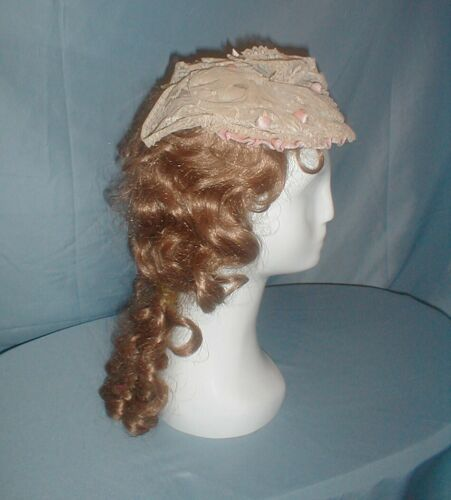 Antique Dress Cap Victorian 1860 Lace and Pink Vel