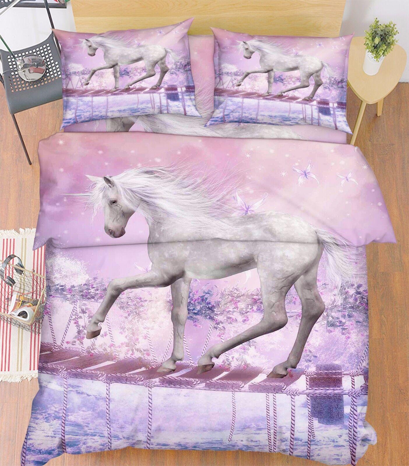 3D bianca Horse Bridge 7 Bed Pillowcases Quilt Duvet Cover Set Single Queen AU